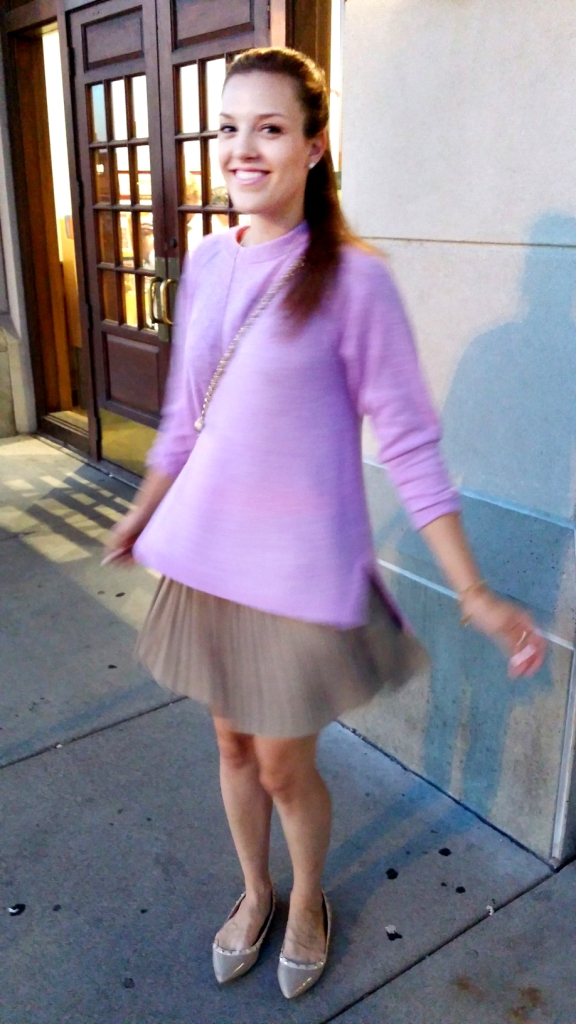 pleated skirt and j. crew sweater