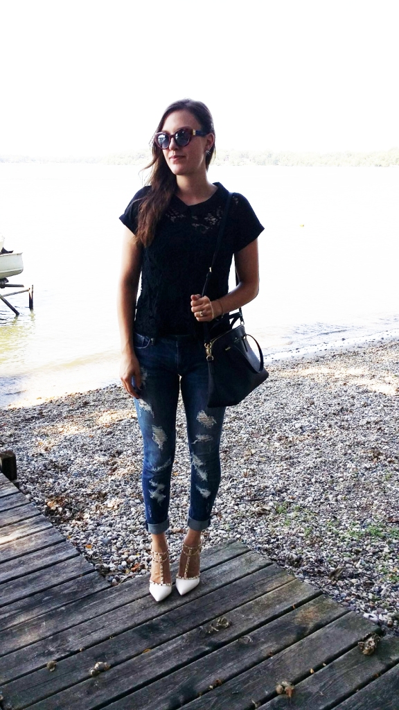 black lace shirt and rockstud heels