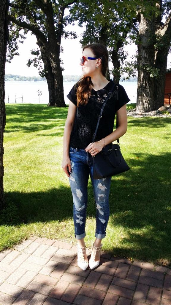 black lace shirt and rockstud Valentino heels