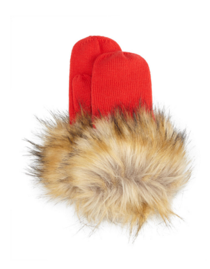 Kate Spade knit mittens with faux fur