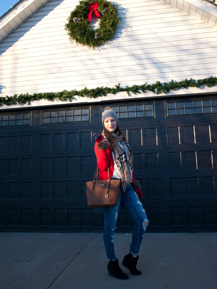 Burberry Scarf, Red Sweater