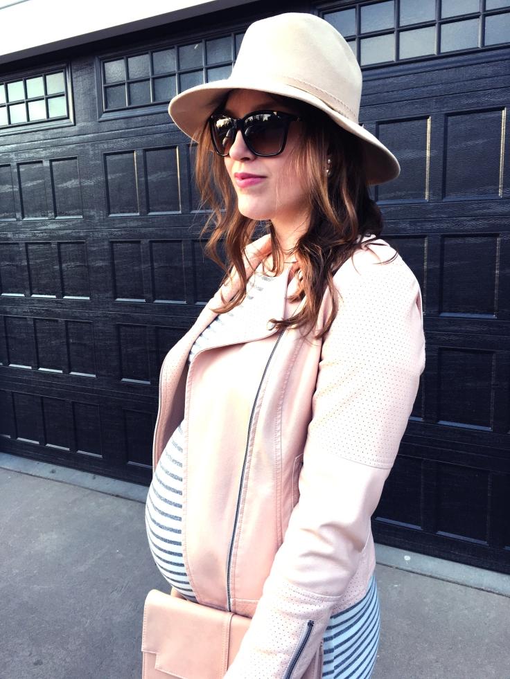 Ivory Grey Striped Dress and Pink Jacket Pink Blush