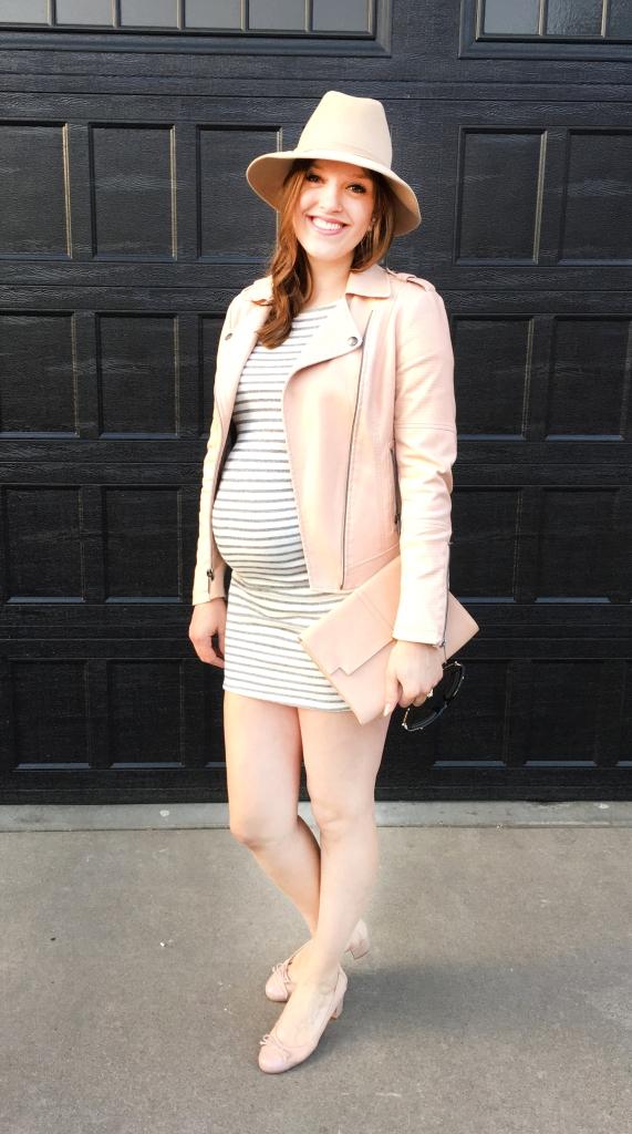 Ivory Grey Striped Dress with Pink Jacket