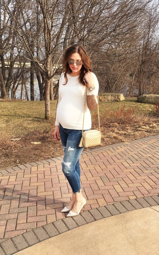ivory sequin sweater bricks pinkblush