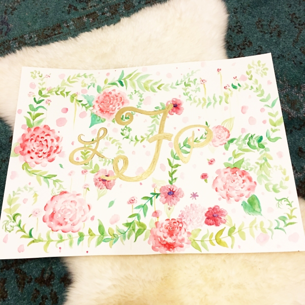 floral-monogram-watercolor-painting