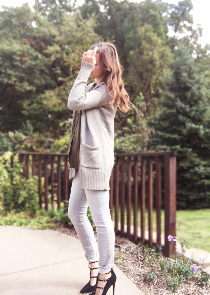 khaki-green-shirt-maurices-pants-jeggings-gray-grey-banana-republic-sweater-itsbanana-and-justfab-heels