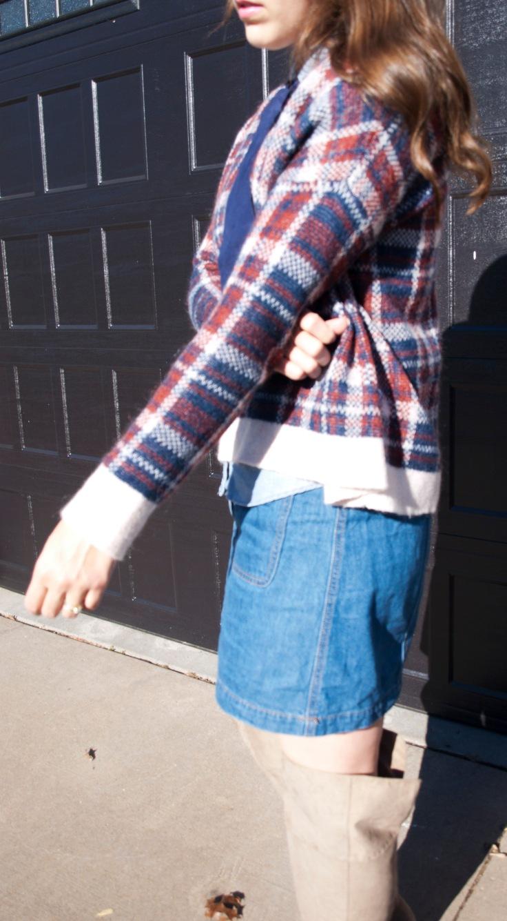 Otk boots plaid sweater denim jean skirt