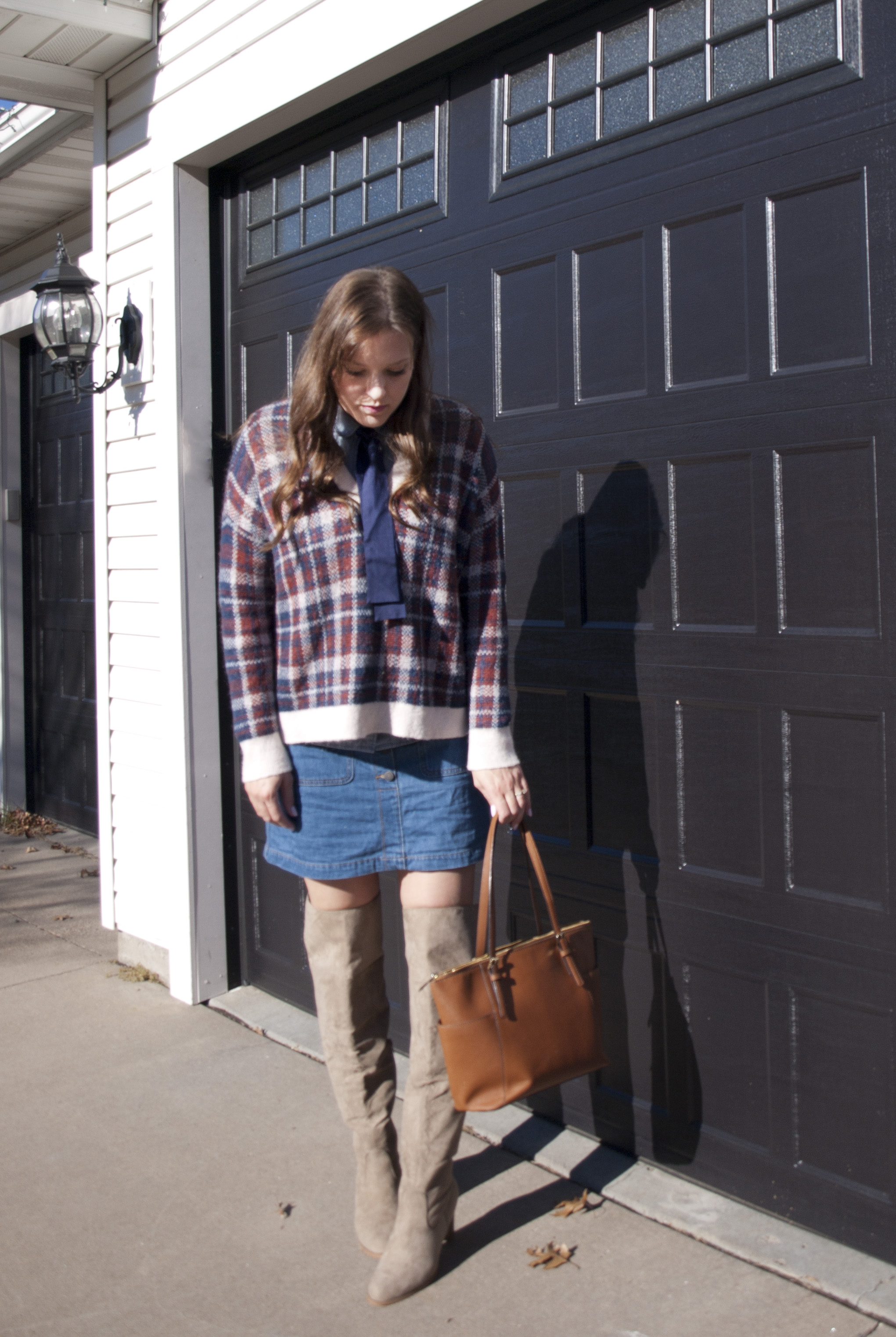 Plaid sweater,denim skirt, and otk boots