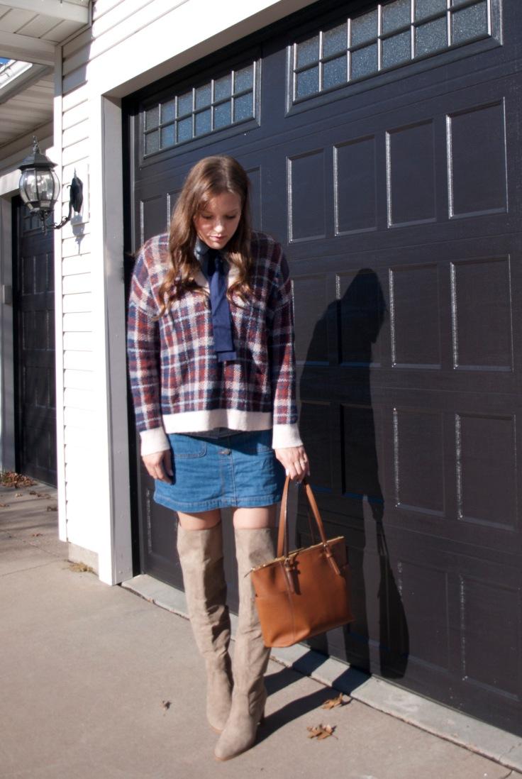 Plaid sweater,denim skirt, and otk boots
