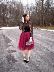 black polka dot shirt red tulle skirt with black heels