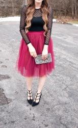 black polka dot shirt red tulle skirt