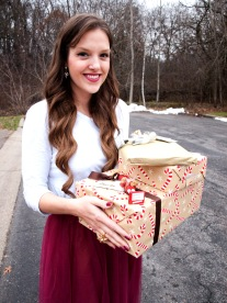 gifts with white shirt and red tulle skirt