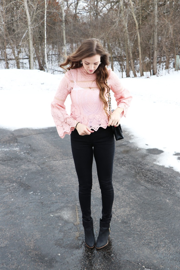 adjusting-shirt-pink-lace-from-shein