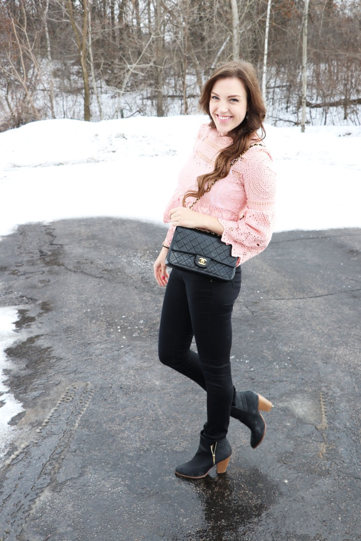 shein-pink-lace-blouse-with-chanel-bag