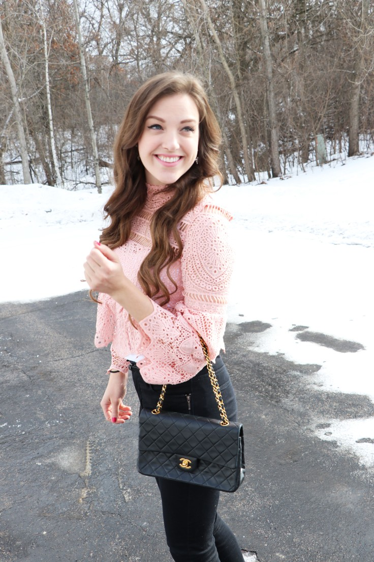 smiling-in-pink-lace-shirt-from-shein-chanel