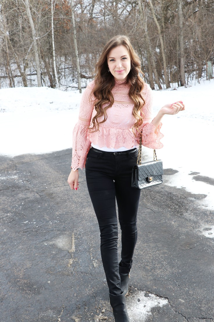 walking-toward-camera-in-pink-lace-shirt