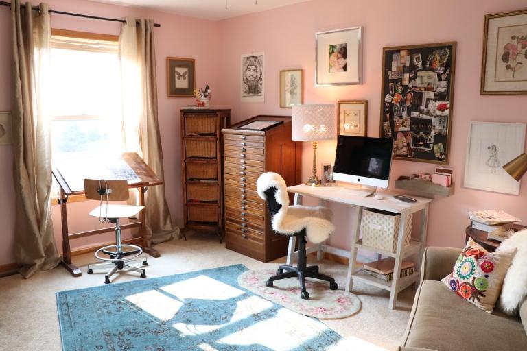 blogger art room blush pink walls grown up