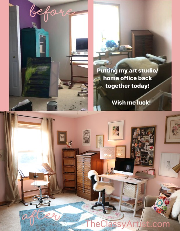 Blogger's diy art studio makeover with blush pink walls
