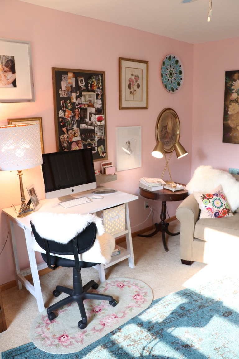 blogger's room and art stuido with blush pink walls