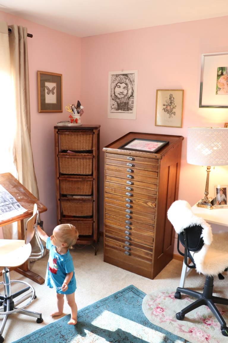 blush pink walls printmaker's cabinet for brushes and craft supply storage