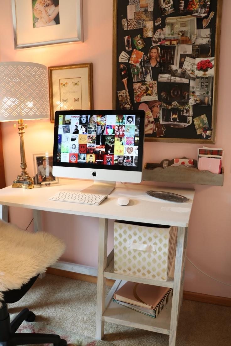 desk area blogger blush pink art studio