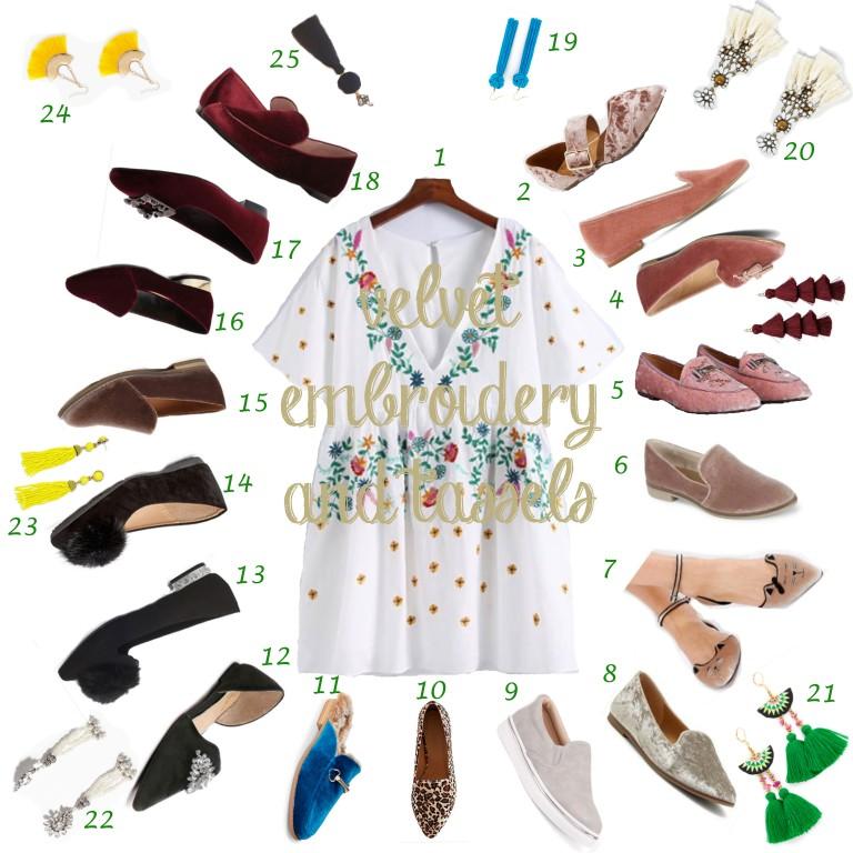 Wishlist for Shirt Dress Velvet Shoes and Tassel Earrings