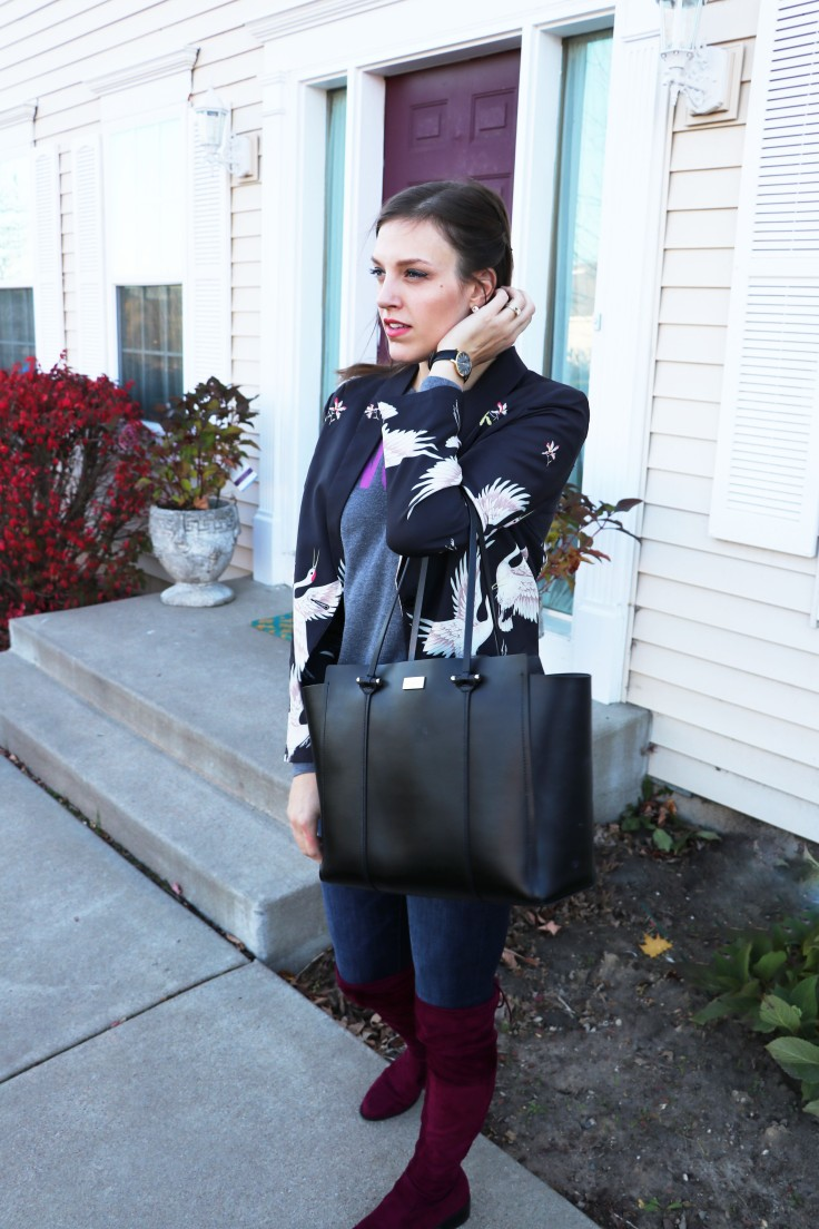crane jacket, black bag, burgundy over the knee otk boots, timex watch copy