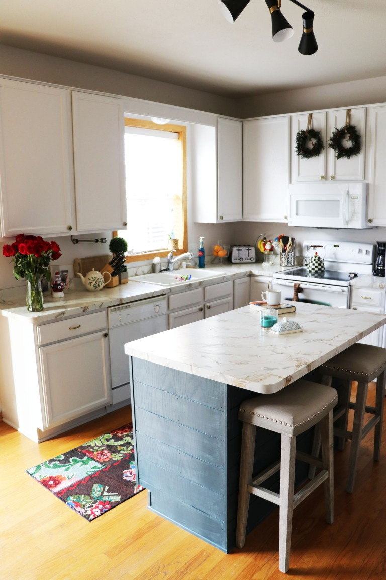 blue kitchen island with white peremeter cabinets diy shiplap copy