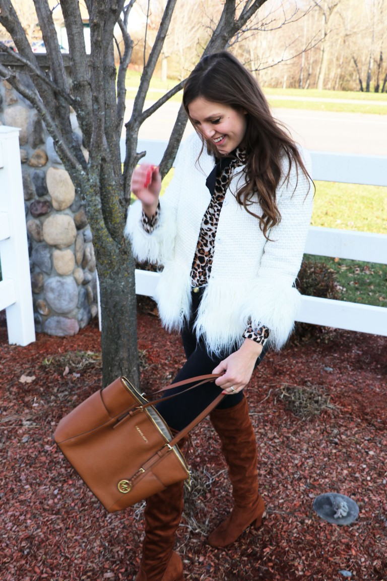 cognac over the knee boots with faux fur chanel inspired jacket and michael kors bag copy