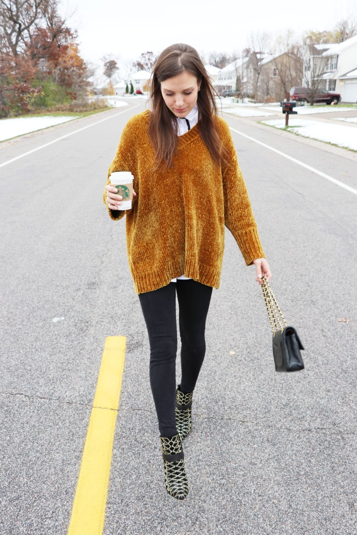 outfit of the day ootd chanel studded boots, starbucks, brown soft sweater copy