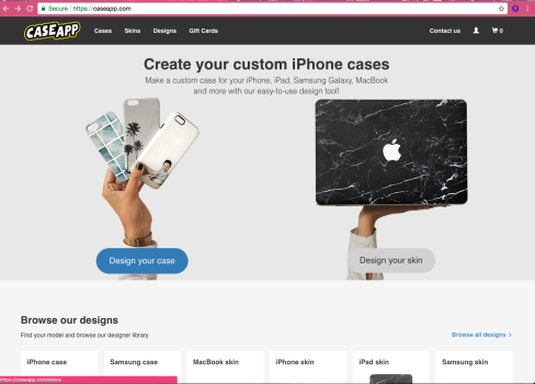 Choose if you want to make a case, skin, or laptop skin
