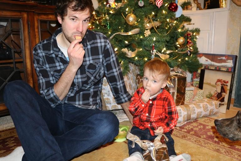 Dada and wolfie eating animal crackers.JPG