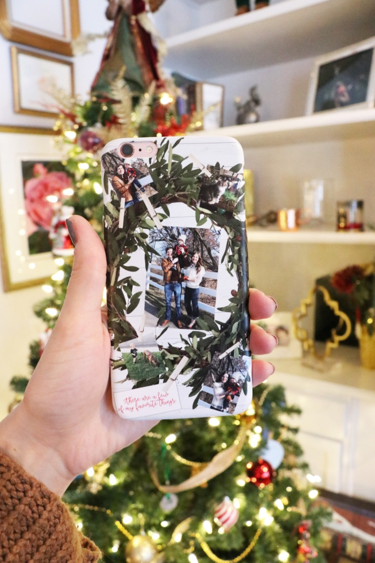 my phone in front of christmas tree copy