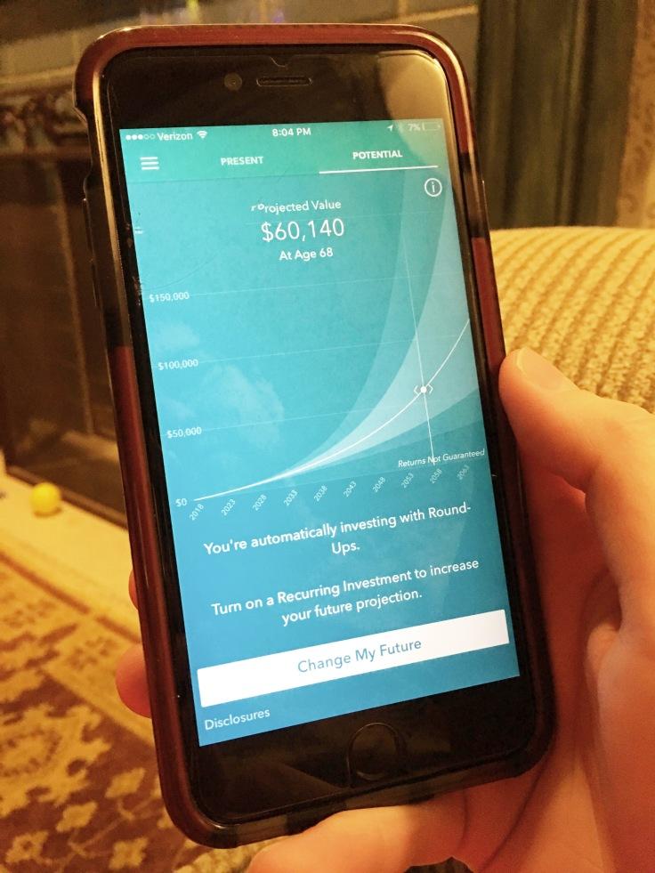 Acorns App projected value blog post for millennial finances