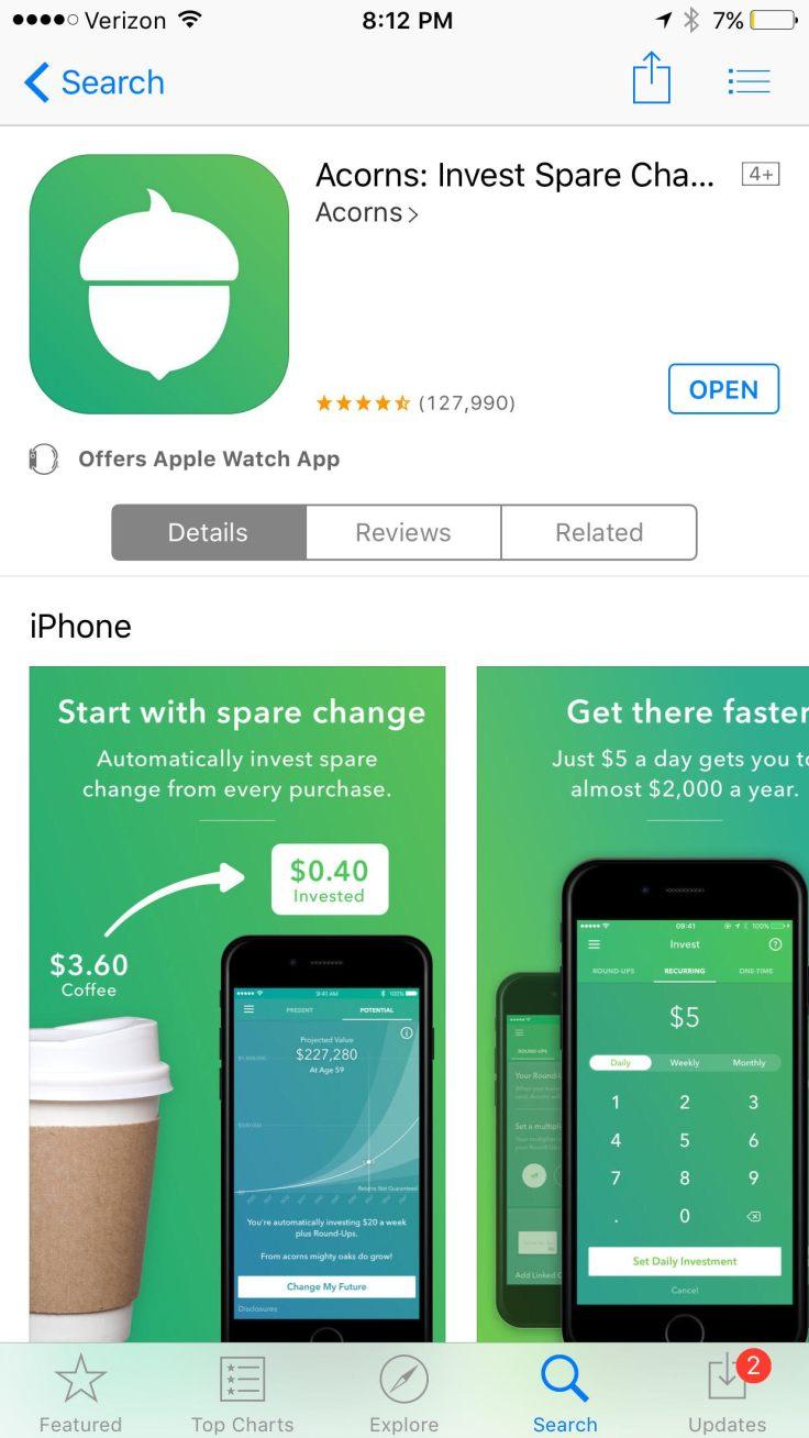 Acorns in the App store how to get it.jpg