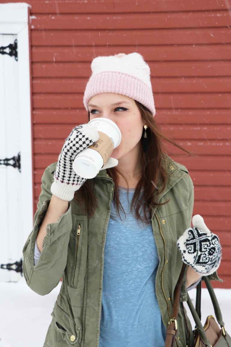 drinking coffee in the minnesota snowy winter