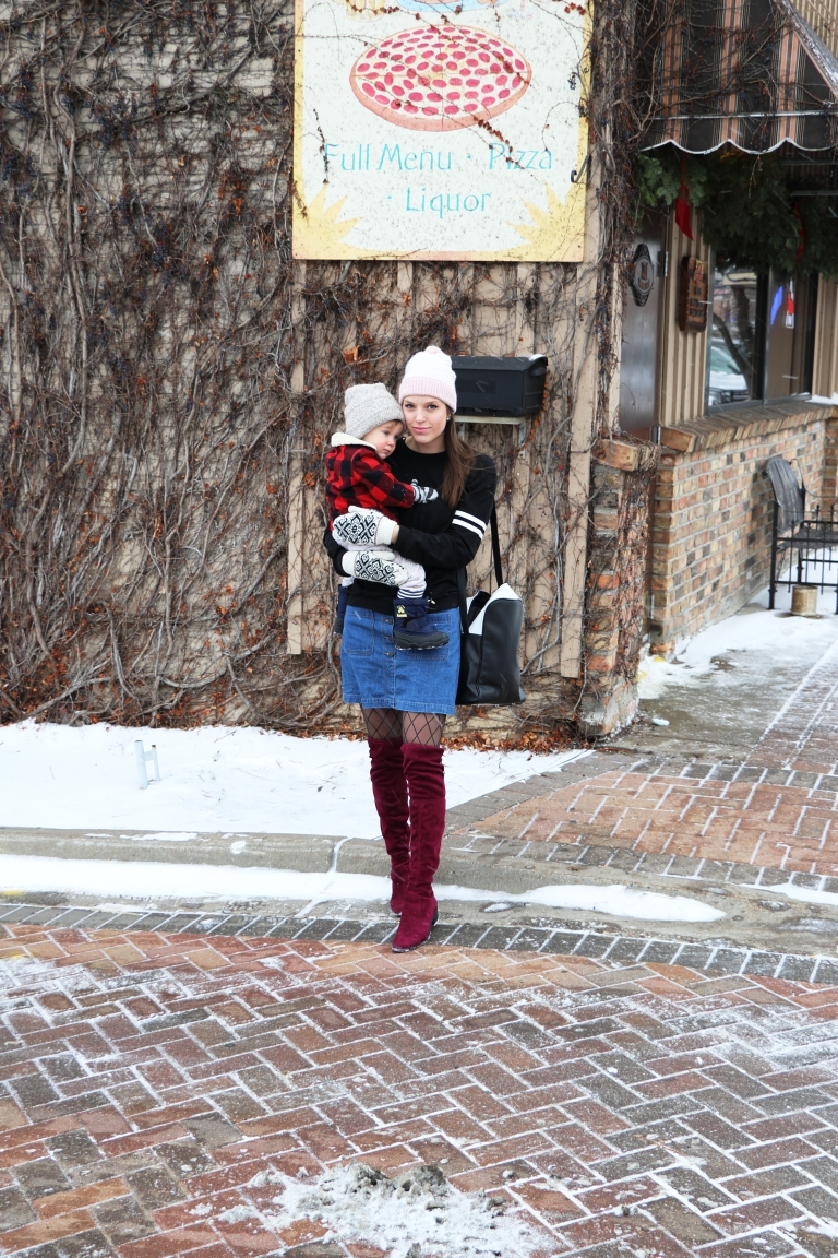pizza blogger and baby downtown in smalltown usa minnesota