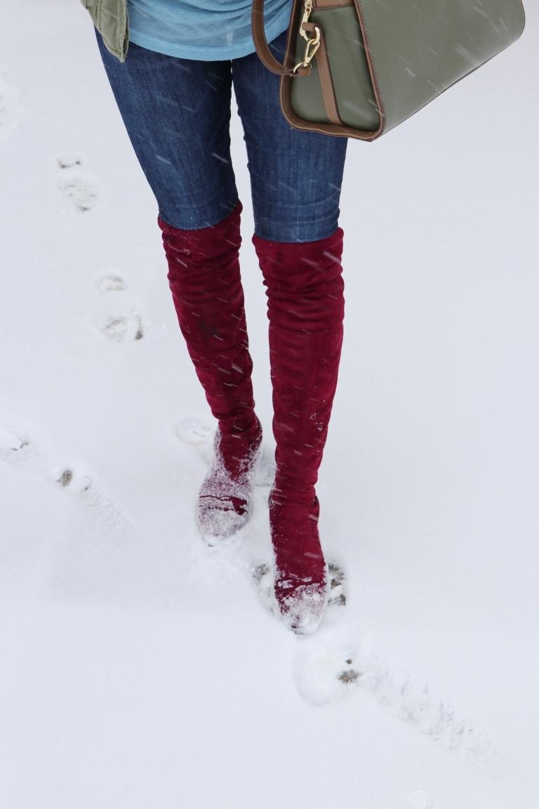 red merlot otk over the knee boots