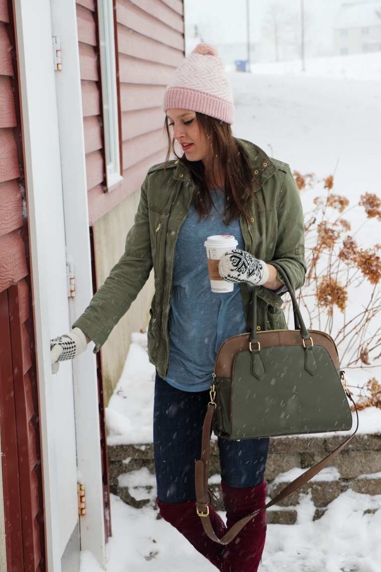 snow day outift for a coffee date