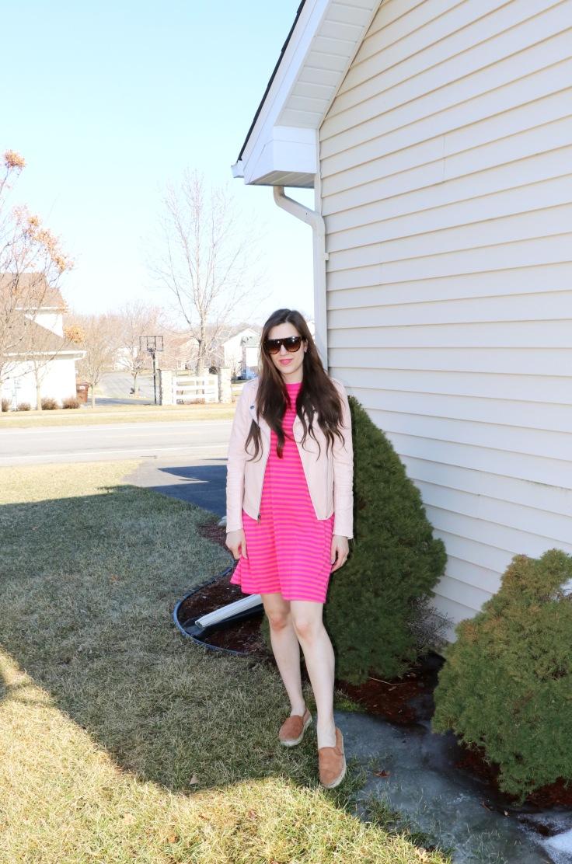 pink striped dress