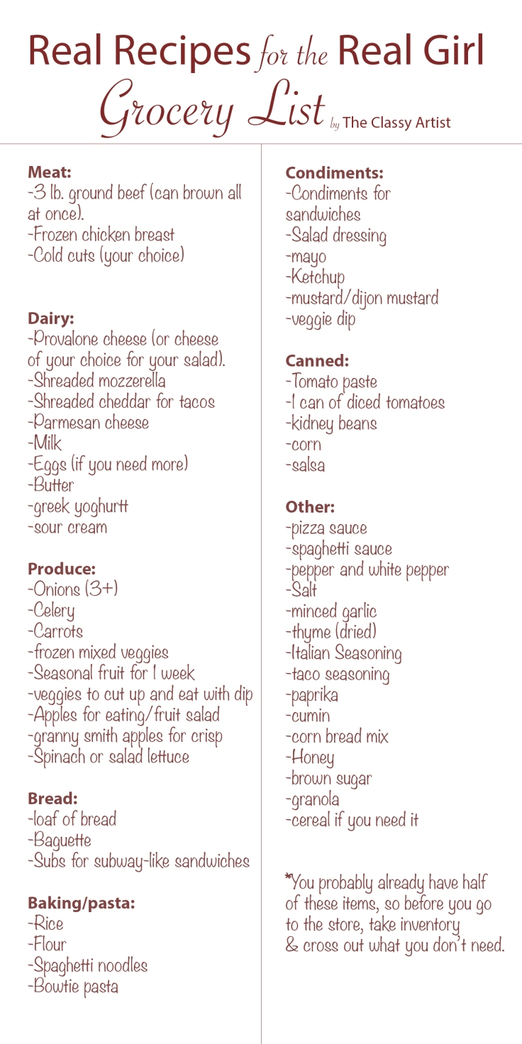 6.25.18 Free Shopping List for The Classy Artist Budget-Friendly Meal Plan