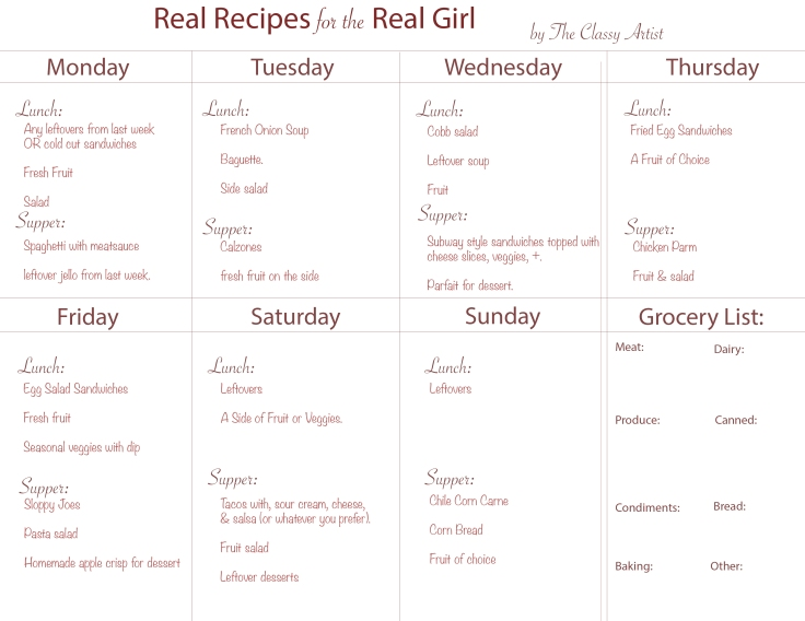 6.25 The Classy Artist Meal Plan 2