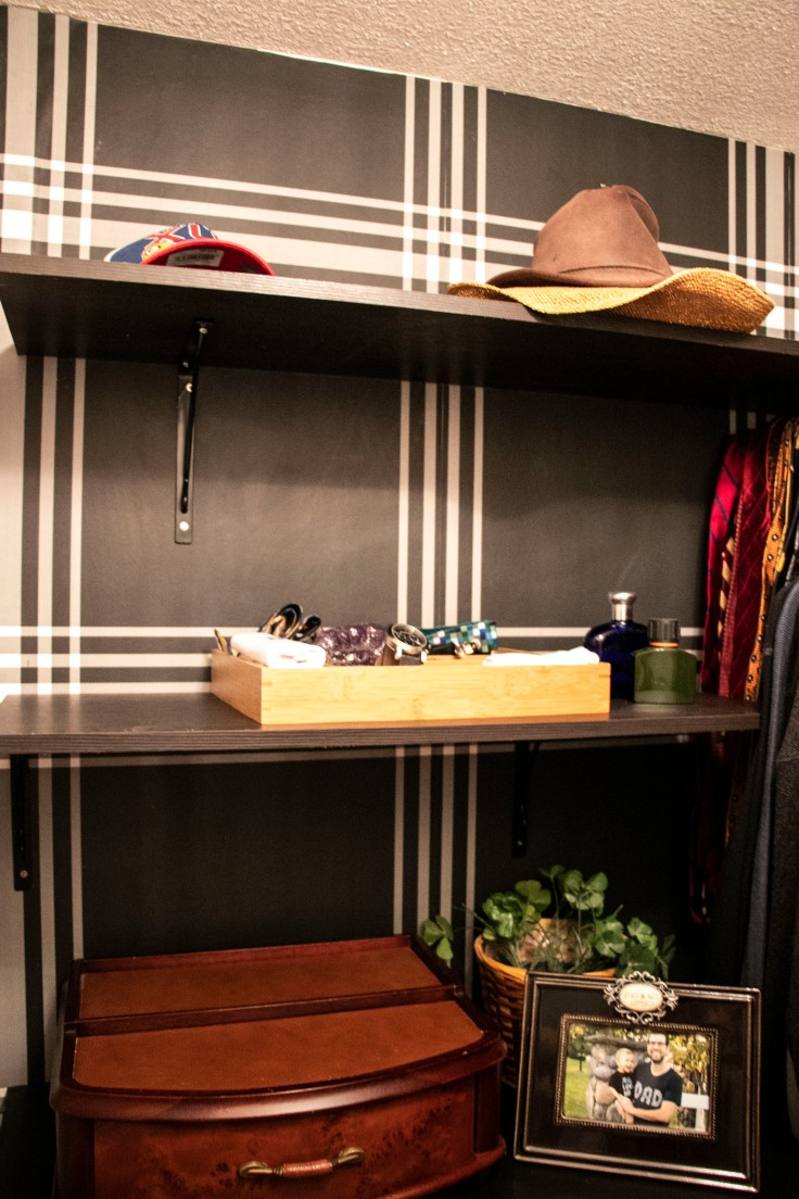 The Classy Artist- Father's Day Idea a small closet revamp modern closet with a classic twist black plaid wallpaper