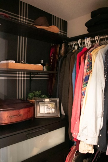 The Classy Artist- Father's Day Idea a small closet revamp modern closet with a classic twist natural lighting
