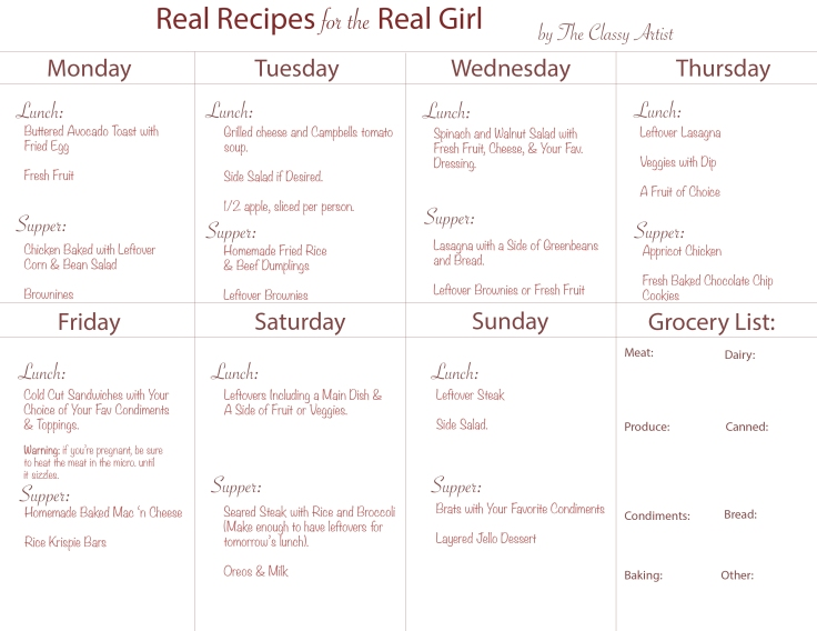 The Classy Artist Meal Plan 2