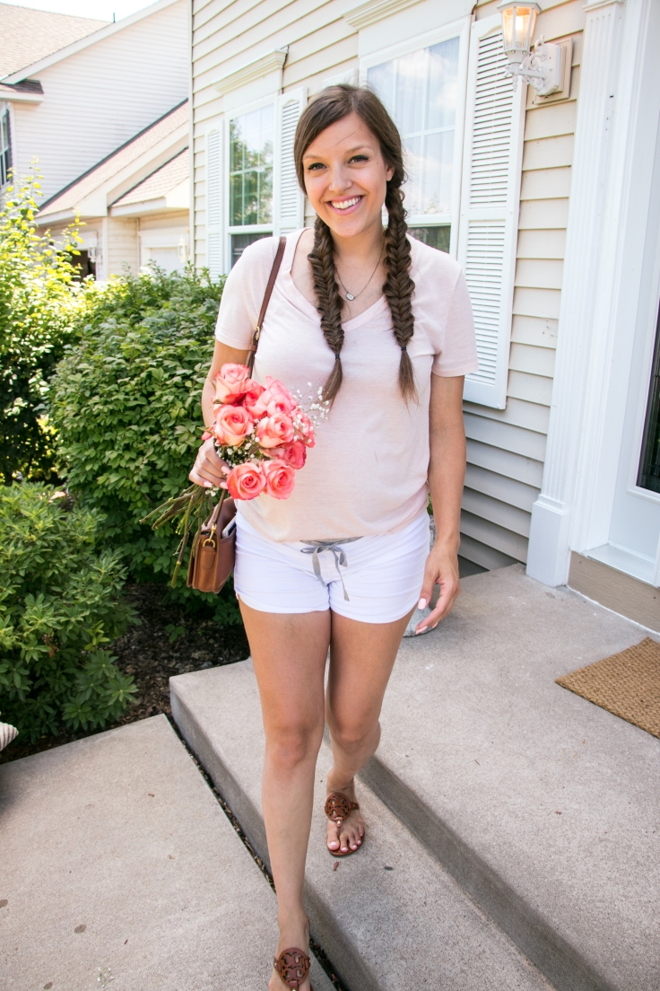 casual outfit of the day with flowers blogger tory burch sandals.jpg